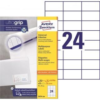 AVERY ZWECKFORM Universaletiketten ultragrip 3474-200 5.280 Stück 70 x 37 mm weiß