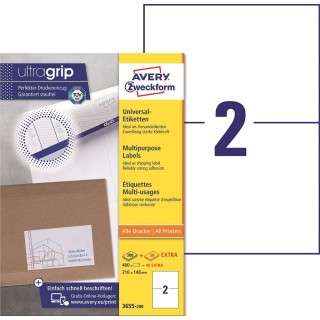 AVERY ZWECKFORM Universaletiketten ultragrip 3655-200 440 Stück 210 x 148 mm weiß