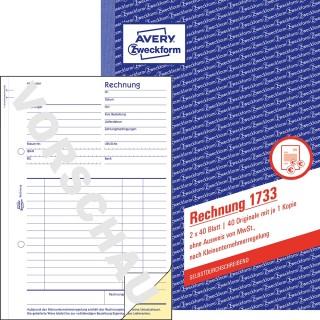 AVERY ZWECKFORM Rechnungsbuch für Kleinunternehmer 1733 A5 2 x 40 Blatt weiß