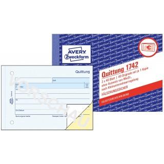AVERY ZWECKFORM Quittung 1742 DIN A6 quer 2x40 Blatt selbstdurchschreibend