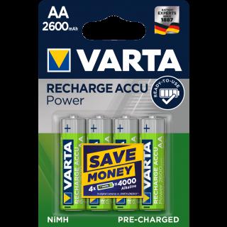 VARTA Accu wiederaufladbare Batterien NiMH AA R2U 2600 mAh 4 Stück