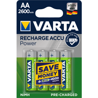 VARTA Batterien Accu NiMH AA R2U 2600 mAh wiederaufladbar 4 Stück