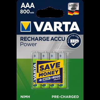 VARTA Accu wiederaufladbare Batterien NiMH AAA R2U 800 mAh 4 Stück