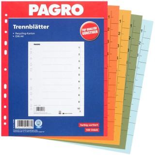 PAGRO Trennblätter 100 Stück A4 sortiert
