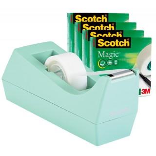 SCOTCH Abroller C38 SM4 mint inkl. 4 Rollen Klebeband Magic 810