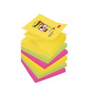 POST-IT® Haftnotizen Super Sticky Z-Notes R3306SR 6 Blöcke à 90 Blatt 76 x 76 mm farbig sortiert