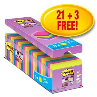 POST-IT® Haftnotizen Super Sticky 654SE24P 24 Blöcke à 90 Blatt 76 x 76 mm farbig sortiert