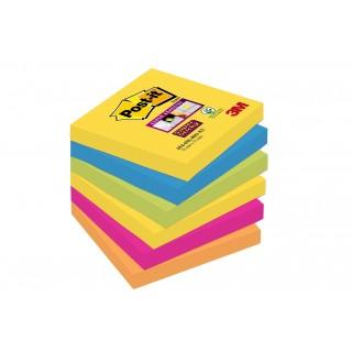 POST-IT® Haftnotizen Super Sticky 6546SR 6 Blöcke à 90 Blatt 76 x 76 mm farbig sortiert