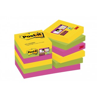 POST-IT® Haftnotizen Super Sticky 62212SR 12 Blöcke à 90 Blatt 48 x 48 mm farbig sortiert