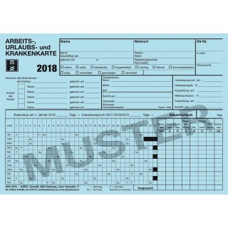 Arbeits-, Urlaubs- und Krankenkarte 666039 AUK 2018 blau