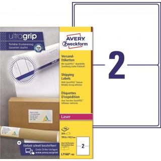 AVERY ZWECKFORM Versandetiketten ultragrip L7168-100 200 Stück 199,6 x 143,5 mm weiß