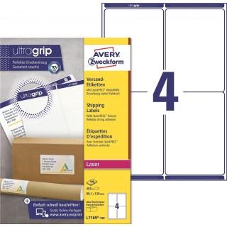 AVERY ZWECKFORM ultragrip Versandetiketten L7169-100 400 Stück 99,1 x 193 mm weiß