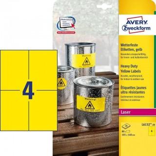 AVERY ZWECKFORM Wetterfeste Etiketten L6132-20 80 Stück 105 x 148 mm gelb