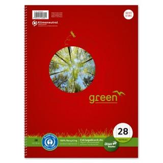 URSUS GREEN Collegeblock DIN A4 160 Blatt kariert 5mm