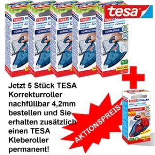 TESA Korrekturroller 4,2mm 5 Stück und TESA Kleberoller permanent 8,4mm 1 Stück
