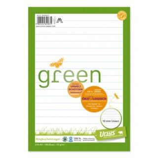 URSUS GREEN Ringbucheinlagen DIN A5 100 Blatt liniert
