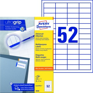 AVERY ZWECKFORM Universaletiketten ultragrip 3650 5.200 Stück 48 x 21 mm weiß