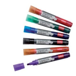NOBO Boardmarker Liquid Ink 6 Stück Rundspitze 3mm farbig sortiert