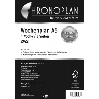 AVERY ZWECKFORM Wochenplan Chronoplan 50231 DIN A5 126 Blatt für 2022