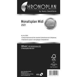 AVERY ZWECKFORM Monatsplan Chronoplan 50511 Midi 24 Blatt für 2021