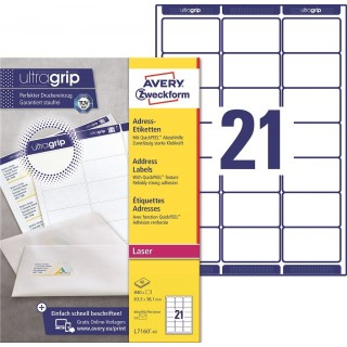 AVERY ZWECKFORM ultragrip Adressetiketten L7160-40 840 Stück 63,5 x 38,1 mm weiß