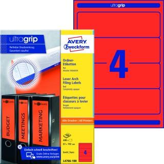 AVERY ZWECKFORM ultragrip Ordneretiketten L4766-100 400 Stück breit 61 x 192 mm rot