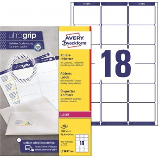 AVERY ZWECKFORM Adressetiketten ultragrip L7161-100 1.800 Stück 63,5 x 46,6 mm weiß