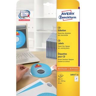 AVERY ZWECKFORM CD-Etiketten L6015 Ø 117 mm 50 Stück weiß