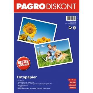PAGRO Fotopapier 50 Blatt 10 x 15 cm 270 g/m² weiß