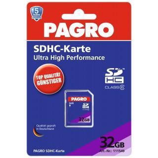 PAGRO SDHC-Speicherkarte 32 GB blau