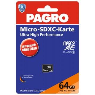 PAGRO Micro-SDXC Speicherkarte 64 GB schwarz