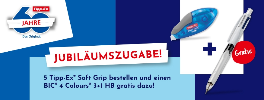 AKTION! 5 Tipp-Ex Soft Grip + GRATIS BIC 4 Colours 3+1 HB!
