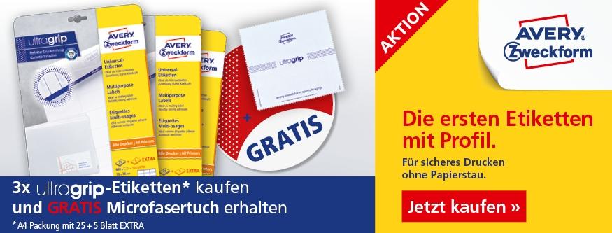 AKTION! 3 Ultragrip Etiketten + Mikrofasertuch gratis!